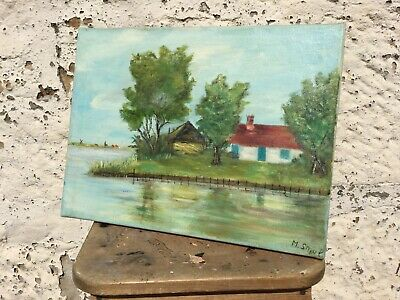 Vintage Naive Oil Painting On Canvas Cottage By The River Signed