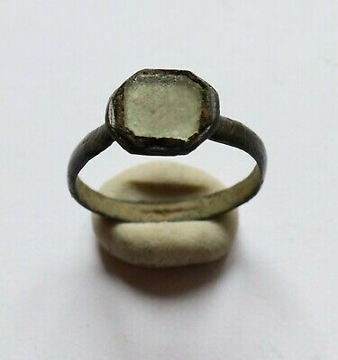 Authentic Medieval Viking Era Bronze Ring With Stone - Wearable