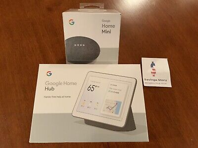 Google Home Hub with Google Assistant Charcoal Bundle With Mini NEW Sealed