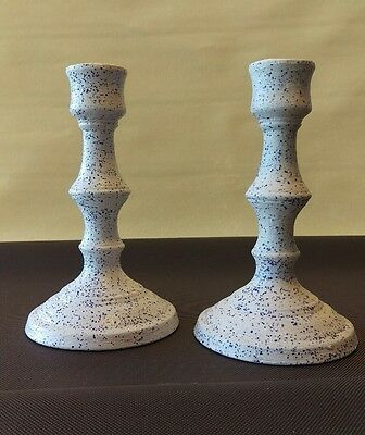 Vintage Pottery set of CANDLE STICK HOLDERS white &blue speckles