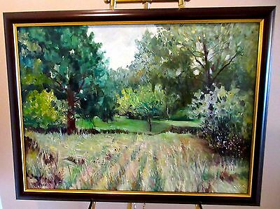 "Original Italian Oil-""MEADOW'S EDGE""- signed: A. CAPOZZI- Large Framed Landscape"