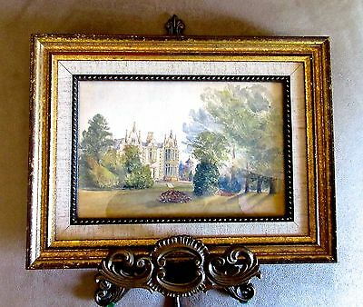 """Orig.19th C. ENGLISH WATERCOLOR-""""STATELY MANOR"""" (E. Hastings)- Framed Landscape"""
