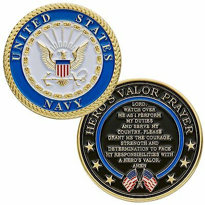 US Navy Challenge Coin with Prayer 1-Pack (One Coin In Velvet Bag)