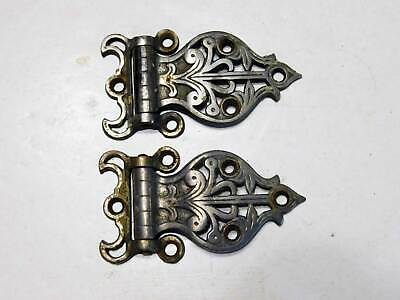 One Antique Pair of Nickel Over Brass Icebox Hinges, Circa 1910, Very Attractive