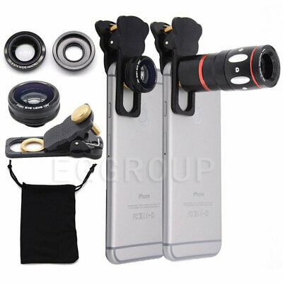 Universal 4 in 1 Wide Macro Lens Angle Fish Eye Telescope Len For Samsung Galaxy