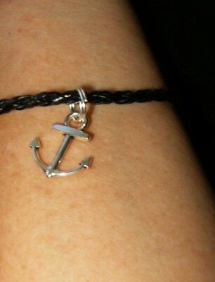Vintage Nautical Anchor Black Braided Leather Rope Bracelet Silver