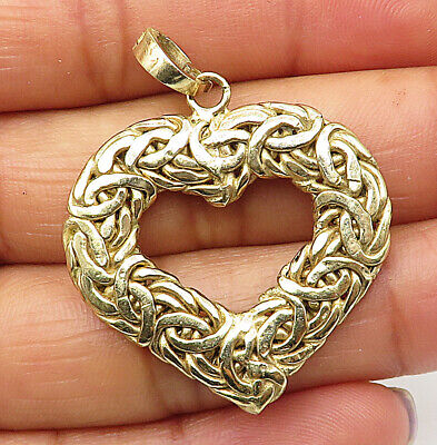 925 Sterling Silver - Gold Plated Byzantine Link Love Heart Drop Pendant - P5959