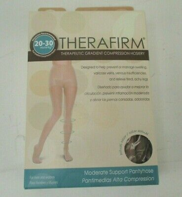 Therafirm 77001 20-30 Compression Pantyhose, Closed Toe Sand - Medium - Open Box