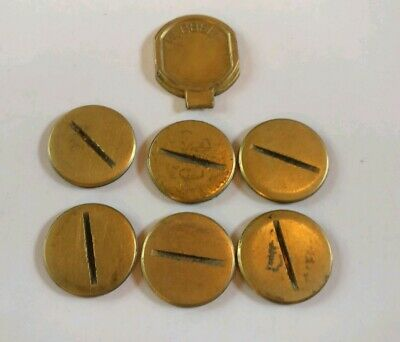 Hubbell Brass Outlet Round Circle Receptacle Box Covers used lot of 7