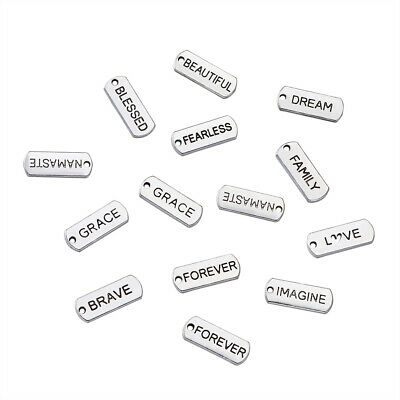 50PCS Alloy Rectangle with Word Pendants Charms Tag Links Antique Silver