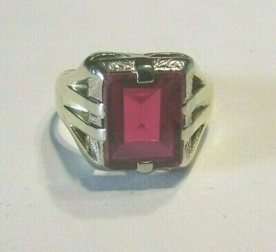 Vintage Art Deco 10K Yellow w/White Gold Ruby Ring Signet Style Sz 7 1/4 Signed