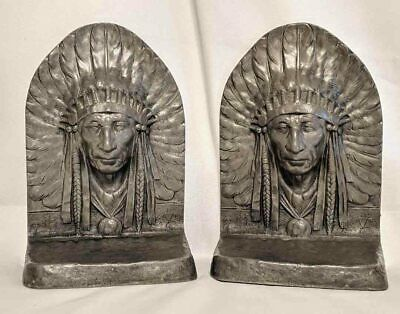 RARE Antique Collectible REED & BARTON Pewter NATIVE INDIAN Book Ends Signed
