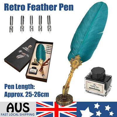 Retro Feather Pen Writing Calligraphy Metal Quill Dip Pen 5 Nibs Ink Set Gift AU