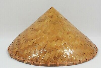 c1649f151 Vintage Asian Coolie Hat Sun Rice Patty Bamboo Straw Conical Chinese Japan  Woven