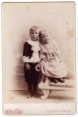Cabinet Photo 2 Children Temple Clinton Iowa Ca 1800'S