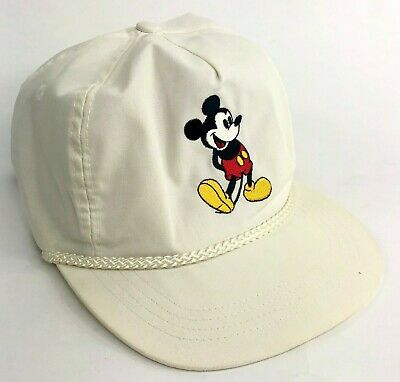 6a26d17565828 Vintage Goofys Hat Co Disney Mickey Mouse White Leather Strap Hat Rope