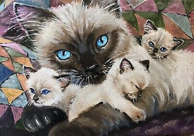 """ACEO Original Oil Painting """"Cuddling"""" Cat Kittens Old Quilt"""