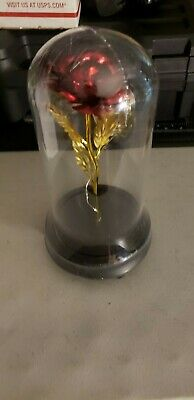 WR Lighted Beauty and the Beast Enchanted Gold Foil Rose In Glass Dome Love Gift