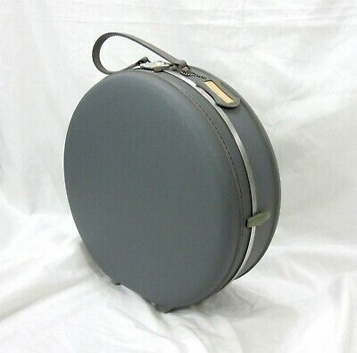 American Tourister Gray Blue Vintage 1960s Round Hat Train Case Travel Suitcase