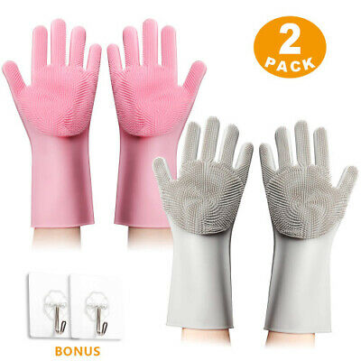 Original Magic Silicone Gloves with Wash Scrubbers | Anti-Slip Rubber, Heat