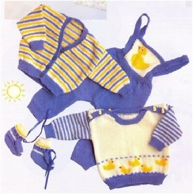 Babies' 5 Ply Baby Duck Duckling Outfit Knitting Pattern 10126 (NOT GARMENTS)