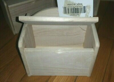 """Lot of 8 New Natural Unfinished Wood Box Recipe Trinket 6"""" x 5"""" x 4"""" Hinged Lid"""