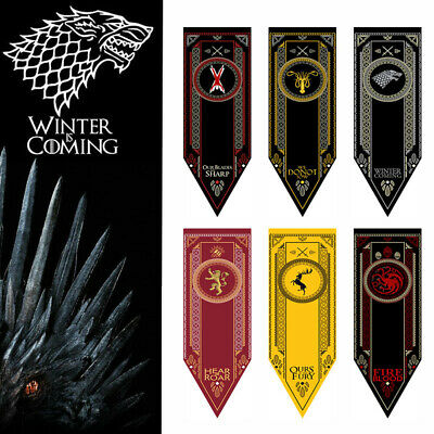 Game of Thrones/Harry Potter House School Banner Flag Wall Hanging Home Decor US