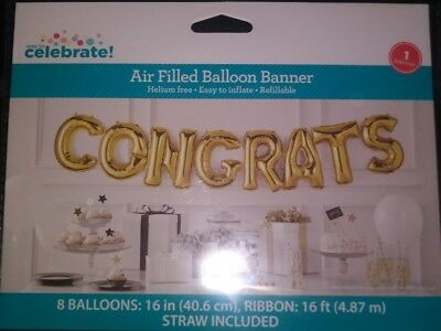 """Congrats Air-Filled Balloon Banner with Ribbon, Gold, 16"""" (1C)"""