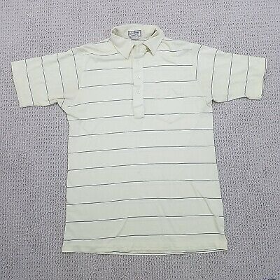 fd7fc368 VINTAGE LL Bean Cotton Lisle Polo Shirt Adult Large Made USA Yellow Striped  Mens