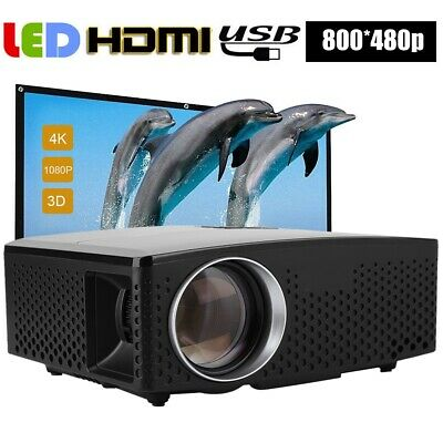 Portable Multimedia 3D LED 1080P Projector Home Theater Cinema 1800LM 100-240V
