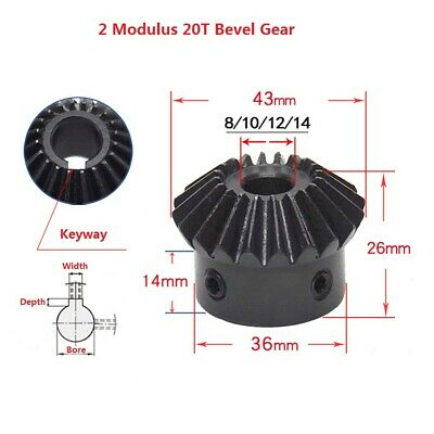 2 Modulus 20T Motor 90° 1:1 Pairing Umbrella Bevel Gear Bore 8/10/12/14/15/16mm