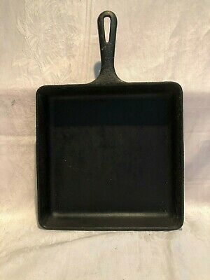 """GRISWOLD~Vntg Cast Iron 9.5"""" SQUARE-FRY SKILLET w/Grooved Handle (#2108)~ERIE PA"""