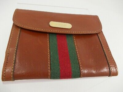 c91b95786e74b9 Rare Vintage Small GUCCI Leather Bifold Wallet COIN PURSE Brown Authentic