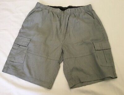 Tweed River Mens Shorts Size Large Black White Stripe Excellent Condition