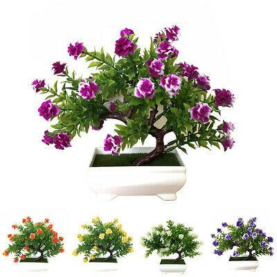 Potted Artificial Fake Tree Flower Bonsai Garden Home Office Plant Decor Strict