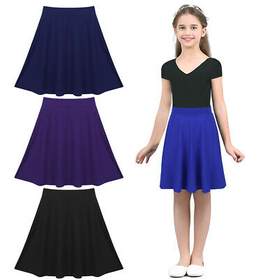 Girls Kid Stretchy Knee Length Full A-Line Skater Skirt for Casaul Party Holiday