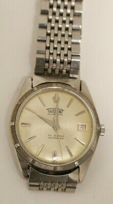 Gents Vintage 1960 Swiss Trident Polemaster Automatic Stainless Date Watch Nice!