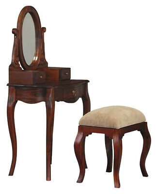 NEW Queen Ann 3 Drawer Small Dressing Table and Stool - La Verde,Dressing Tables