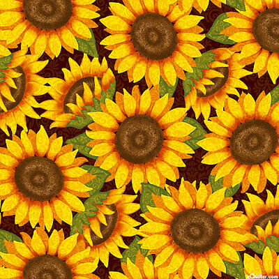 Sunflowers Thankful and Blessed Quilting Fabric 1/2 Yard