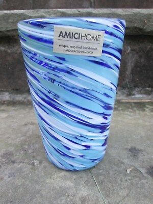 Malibu Highball Art Glass Tumbler Vase Blue Ocean Swirl Summer Drink Iced Tea