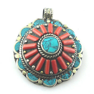 Vintage style wonderful pendant red coral copper silver plated necklace jewelry