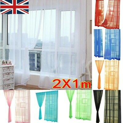 Tulle Door Window Curtain Drape Panel Sheer Scarf Valances Divider Sheer Voile O