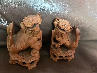 Vintage Chinese Guardian Lion Temple Foo Dogs Pair  Carved