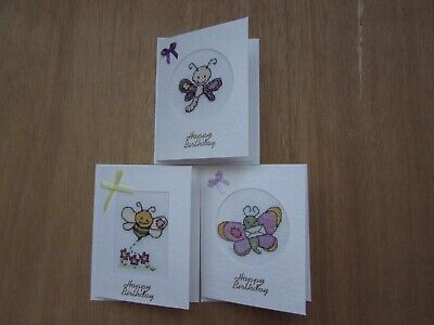 3 colourful handmade cross stitch  butterfly/bee Birthday cards