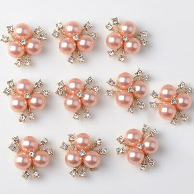 10x Rose Gold Rhinestone Pearl Button Crystal Findings Charms Earrings DIY