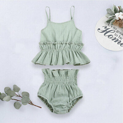 AU Newborn Kid Baby Girl Linen Ruffle Top Shorts Pants Outfit Summer Clothes Set