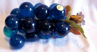 Vintage Mid Century Retro Lucite Blue Grapes On Driftwood-Beautiful Decor