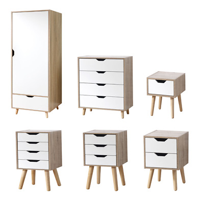Stockholm White & Oak Scandinavian Bedroom Range Wardrobe Drawer Nightstand