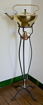 Was Benson Arts And Crafts Brass Kettle On Brass And Wrought Iron Stand