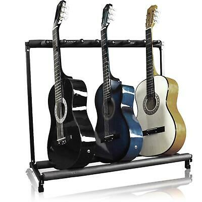 3-Guitar Instrument Folding Storage Stand W/ Padded Rails - Black